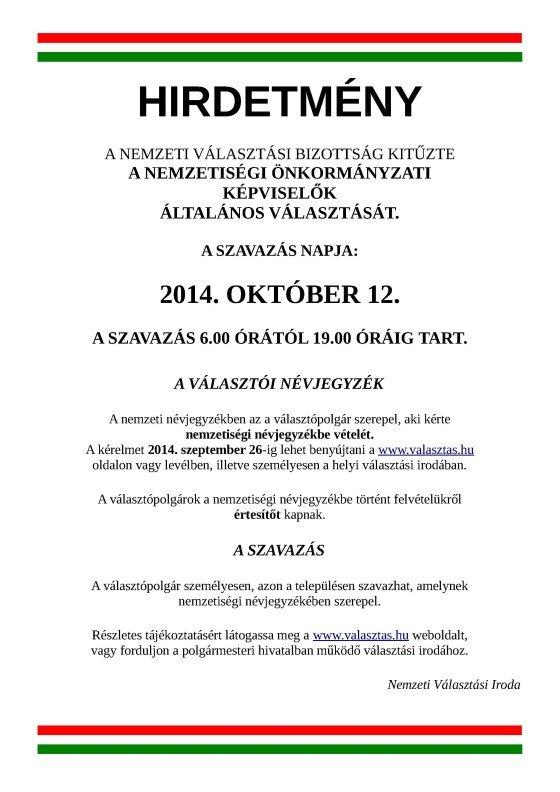 Nemzetiségi Önkormányzati Választás 2014  bee342b962